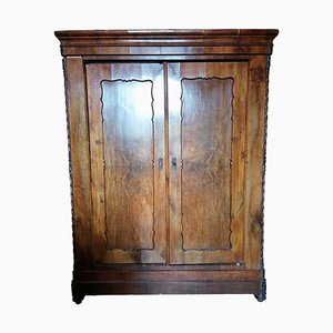19th Century Solid Walnut 2-Door Closet