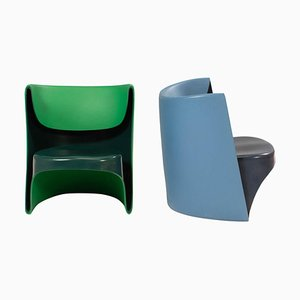 Nona Rota Blue and Green Chairs by Ron Arad for Cappellini, Set of 2
