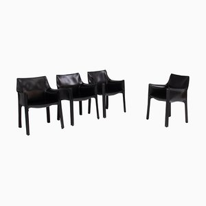 Cab Black Leather Carver Dining Chairs by Mario Bellini for Cassina, Set of 4