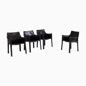 Cab Cab Carver Esszimmerstühle aus schwarzem Leder von Mario Bellini für Cassina, 4er Set