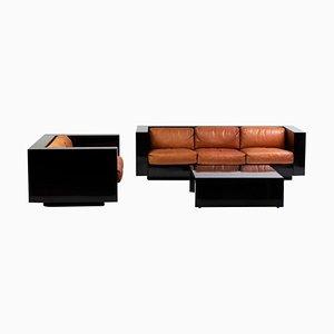 Black and Cognac Leather Saratoga Living Room Set by Massimo Vignelli, Set of 3