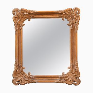 Neoclassical Empire Rectangular Gold Hand Carved Wooden Mirror, Spain, 1970s