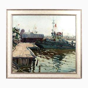 River Port, Brekte, Watercolor, 1968