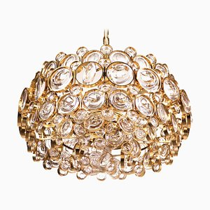 German Bubble Chandelier in Crystal & Gilt Brass by Gaetano Sciolari for Palwa, 1960s