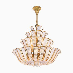 Germany Hollywood Regency Crystal & Gilt Brass Chandelier from Palwa, 1960s