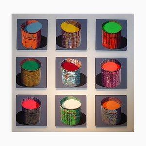 9 Pots de Peinture von Stéphane Braud, Acryl auf Aluminium