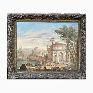 Scenery of Ruins, Oil Painting on Canvas, 20th-Century
