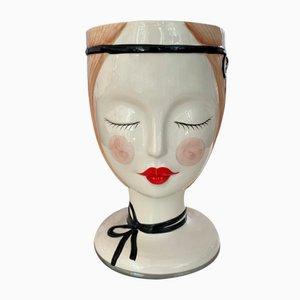 Italian Ceramic Woman's Head Flowerpot or Vase from Bassano