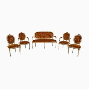 Italian Baroque Style Sofa, Armchair and Chairs in Original Velvet Upholstery, Set of 5