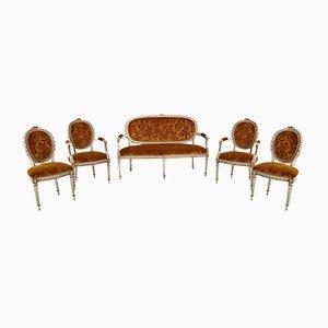 Italienisches Barock Sofa, Sessel und Stühle mit Original Samtbezug, 5er Set