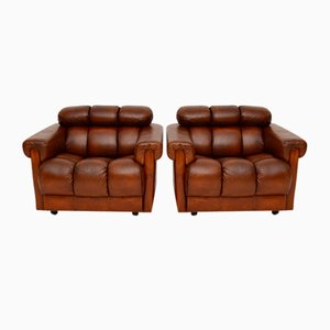 Vintage Tufted Leather Club Armchairs, Set of 2