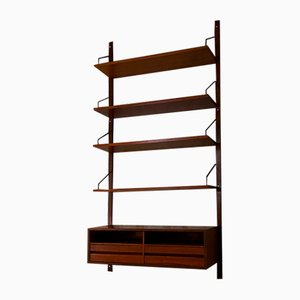 Italian Teak Single Wall Bookcase with Shelves, Desk and Compartment from ISA Bergamo, 1960s