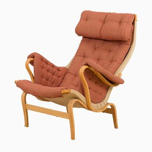 Pernilla Lounge Chair in New Cotton Upholstery by Bruno Mathsson for Dux