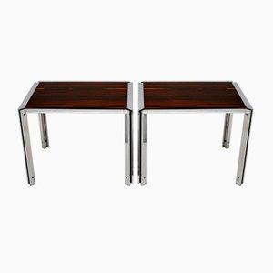 Vintage Italian Chrome Side Tables, Set of 2