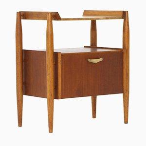 Teak Nachttisch mit Formica Regal, 1950er