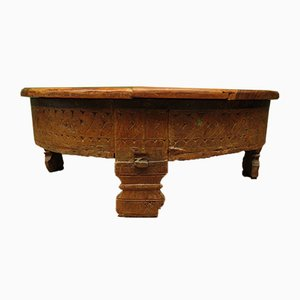 Antique Indian Carved Chakki or Coffee Table with Lid