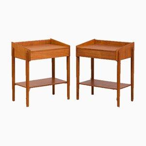 Tables de Chevet Modèle 148 en Teck avec Étagère et Tiroir par Børge Mogensen pour Søborg Møbelfabrik, Set de 2