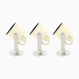White 433 Wall Lamps by Pio Lugi Brusasco & Giovanni Torretta for Luci, 1970s, Set of 3
