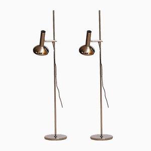 Verchromte Metall Stehlampen von Erwi Philips für Koch & Lowy, 1960er, 2er Set