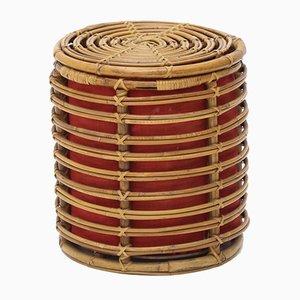 Cylindrical Rattan Basket, 1950s