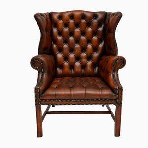 Antique Leather Wing Back Armchair