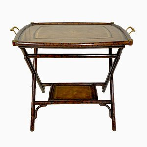 Antique Bamboo Leg Butler Table with Leather Print Tray