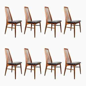 Dänische Eva Stühle aus Rio Palisander und Leder von Niels Koefoed für Koefoeds Hornslet, 1960er, 8er Set