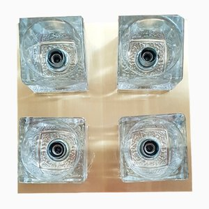 Brass Ceiling Lamp with 4 Glass Cubes from Peill & Putzler, 1970s