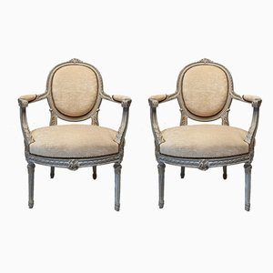 Louis XVI Armchairs in Painted Wood with Medallion Backrest, 19th Century, Set of 2