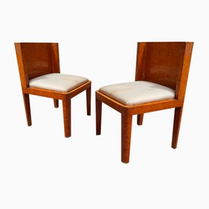 Square Art Deco Chairs in Walnut Feather, 1930s, Set of 2