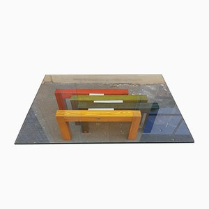 Coffee Table in Wood and Steel with Glass Top from Saporiti Italia, 1970s