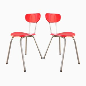 Red Plastic Chairs, France, 1950s, Set of 2