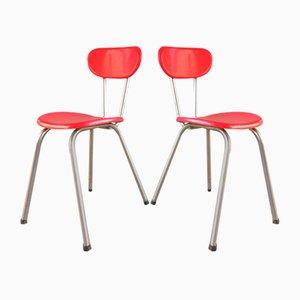 Rote Plastikstühle, Frankreich, 1950er, 2er Set