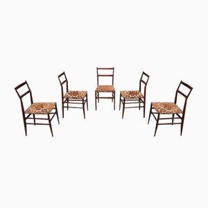 Dark Stained Mahogany Leggera Chairs by Gio Ponti for Cassina, 1950s, Set of 5