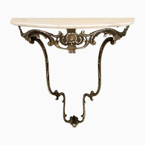 Baroque Style Wall-Mounted Console Table with Demilune Marble Top, Italy