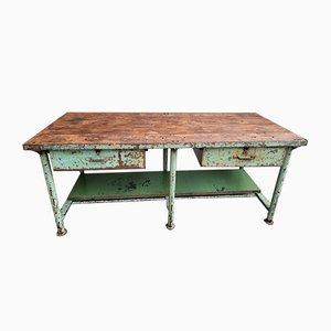 Banco da lavoro vintage in acciaio e legno