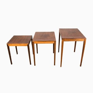 Danish Nesting Tables in Rio Rosewood by Johannes Andersen for CFC Silkeborg, 1962, Set of 3