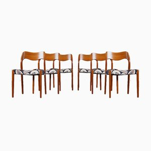 Modell 71 Esszimmerstühle mit Dedar Bezug von Niels Otto Møller für JL Møllers, 1950er, 6er Set