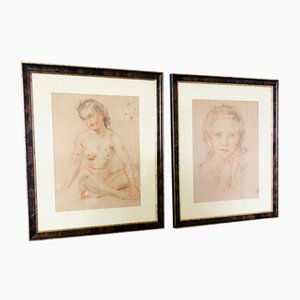 Gerahmtes Portrait & Akt in Pastell & Kohle, 2er Set