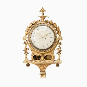 Antique Gustavian Hand-Carved Wall Clock