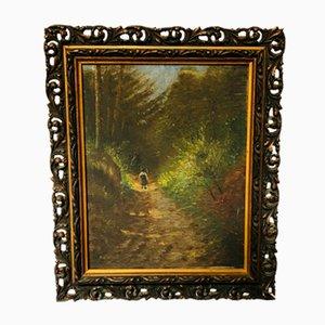Antique Gilt Gesso Framed Oil on Canvas
