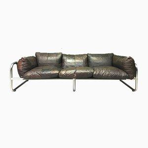 Vintage Swedish Metal, Chrome & Leather 3-Seater Sofa