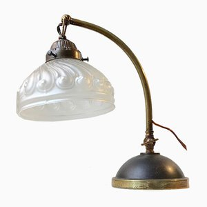 Italian Art Deco Table Lamp in Brass and Glass, 1930s