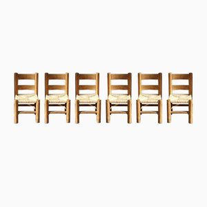 Vintage Brutalist Handcrafted Oak Chairs with Papercord Seats, Set of 6