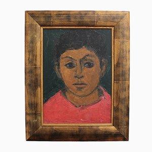 Französisches Schulporträt eines Jungen in Rot, 1930er