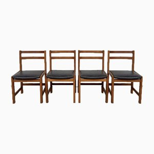 Mid-Century Leather and Oak Dining Chairs, Set of 4