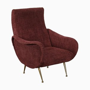 Foam and Brass Armchair, Italy, 1950s