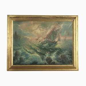 Marina con Pescatori 1916, Oil on Canvas