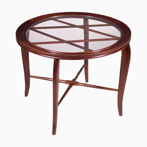 Beech and Glass Coffee Table, Italy, 1950s