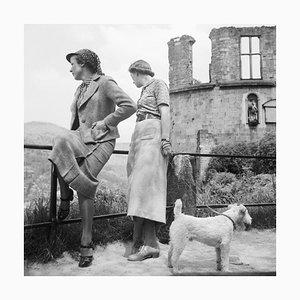 Women, Dog at Heidelberg Castle on River Neckar, Germany 1936, Printed 2021